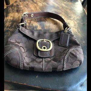 Coach brown small signature satchel bag